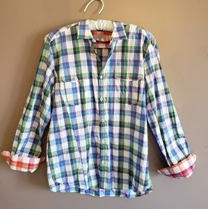 Ted Baker London Purple Green Blue Plaid Shirt XL